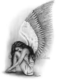 Angel Sketch Angel Wings Heaven Girl Art Print Emo Fantasy Girl Zindy