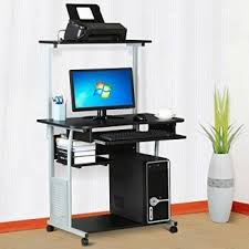 world pride 2 tier computer desk with printer shelf stand home office rolling study table black desktop computer table t72