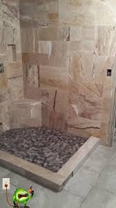 custom bathroom remodel makeover for stand up shower with travertine on the walls river rock shower floor pan 20 inch porcelain tiles on floor