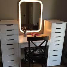 ikea makeup station 1 micke desk 2 alex drawer sets 1 storjorm mirror