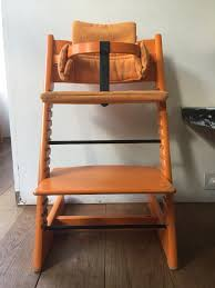 original tripp trapp chair for baby and child with baby set and cushion orange