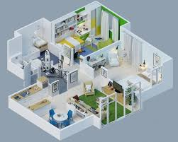 3d 2 bedroom house plans one story