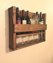 Rustic Wine Rack - Metal Wine Bottle Holder - 5 Bottles. Wine Glass  StorageWine ...