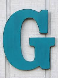 Guestbook Large Wall Letters Rustic Wooden Letter G Distressed in Island  Green,18