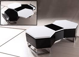 White Coffee Table And End Tables Modrest Ya617 Modern Black And White Coffee Table
