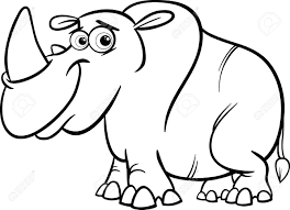 black and white cartoon ilration of cute rhinoceros or rhino for coloring book stock vector