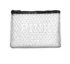 victoria s secret pink clear glitter cosmetic makeup bag