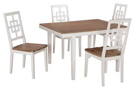 amazon ashley furniture signature design brovada rectangular 5 piece dining room set includes table 4 chairs two tone finish table chair