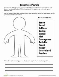 adjectives to describe a hero worksheets adjectives to describe a hero