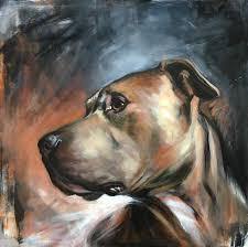 saatchi art artist aimée hoover painting pitbull rescue dog portrait