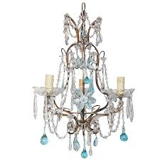 french aqua crystal prisms drops and flowers chandelier circa 1920 for