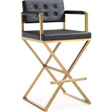 tov tov k3669 director bar stool in tufted black eco leather on gold stainless