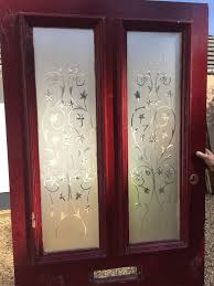 wide victorian etched cut glass front door wood reclaimed period old antique