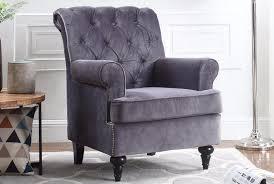 velvet accent chair. Christopher Tufted Velvet Accent Armchair In Grey Chair H