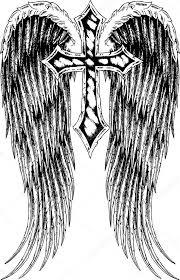 Kříže A Křídlo Tetování Stock Vektor Pauljune 10091422
