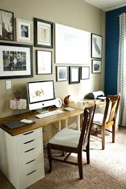 Pretty Dubs: Office Update, I like the two ikea desks with stained tops put