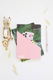 diy personalized composition notebook pink gold palms1