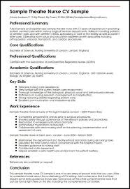 Sample Theatre Nurse Cv Sample Myperfectcv