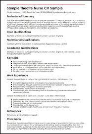 resume specialties examples sample theatre nurse cv sample myperfectcv