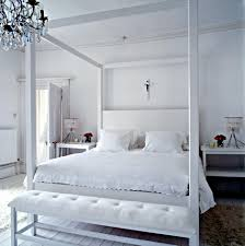 Bedroom:All White Wooden Bed Frame With Double Sized Bed In Hollow Canopy  Bed Style