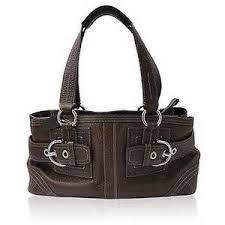 ... coach borough large coffee satchels dgy pre owned coach hampton brown  leather w buckles satchel poly