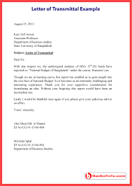 Letters Of Transmittal Letter Of Transmittal Example Template Sample Format