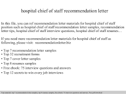 Cover Letter For Chief Of Staff Position Hospital Chief Of Staff Recommendation Letter