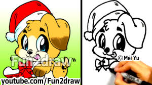 Small Picture How to Draw Cute Santa PUPPY step by step Draw Animals Cute