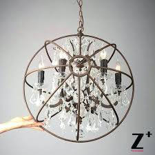 candle chandelier wood and iron orb covers