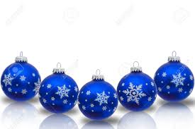 Blue Christmas ornaments with snowflakes isolated on white, Christmas Time  Stock Photo - 14658733
