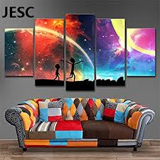 jesc 5 panels canvas rainbow painting poster wall art canvas art modern home decor picture for on wall art canvas for living room with amazon jesc 5 panels canvas rainbow painting poster wall art
