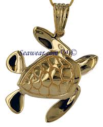 14k gold large sea turtle by peter costello