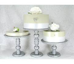 3 silver cake stands set round wooden rhinestone party cupcake display wedding plate table decor stand white wedding cake stand