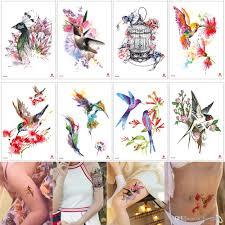 акварель временные татуировки птичья клетка цветы стикеры дизайн поддельные