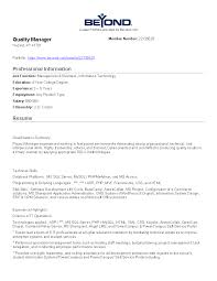 Free It Quality Manager Job Description Templates At