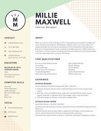 Interior Design Resume Amazing Pastel Green And Yellow Interior Designer Modern Resume Templates