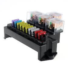 10 way fuse box 5 pin socket base relay fuse holder block 13pcs 10 way fuse box 5 pin socket base relay fuse holder block 13pcs standard