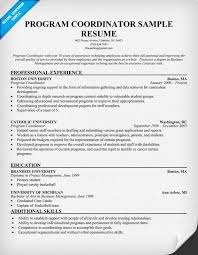 Program Coordinator Resume Samples 73 Images Resume Format