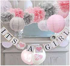 Flower Paper Lanterns Luckylibra Baby Girl Baby Shower Decorations It Is A Girl Banners And Paper Lantern Paper Flower Pom Poms Pink White Grey