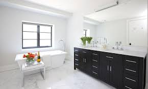 black and white bathroom with freestanding tub