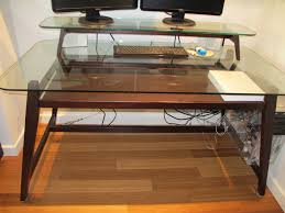 abundant glass top and natural polished wood double desk shelves for modern computer table as decorate in contemporary home office decors ideas