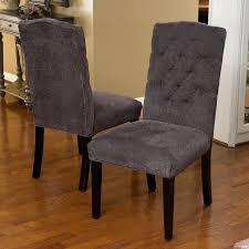 set of 6 elegant gray linen upholstered parsons dining