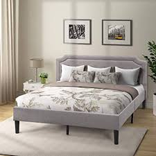 Amazon.com: Platform Bed Frame Upholstered Scalloped Linen King Bed ...