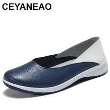 ceyaneao 2019summer women leather loafers cutout ballet flats shoes female flat nursing shoes woman slip on loafers sliponye1838