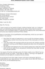 Cover Letter For Special Education Teacher Early Childhood Special