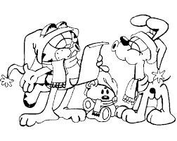 Kleurplaat Garfield Viert Kerst