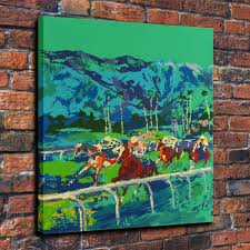 hd print leroy neiman horses racing home art wall decor painting on canvas 16x20