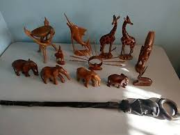hand carved wooden african animals