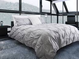 silver pintuck duvet cover set