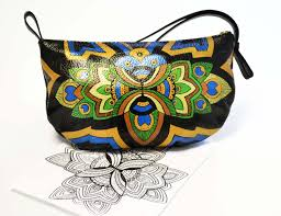 custom made peacock leather purse hand painted purse peacock small bag colorful bag